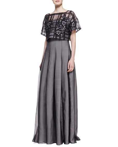 Strapless Gown with Pop Top, Black/Pale Pink