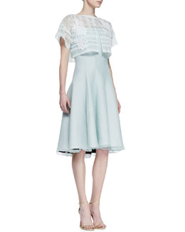 Tadashi Shoji Short Sleeve Strapless Dress with Pop Top, Mint
