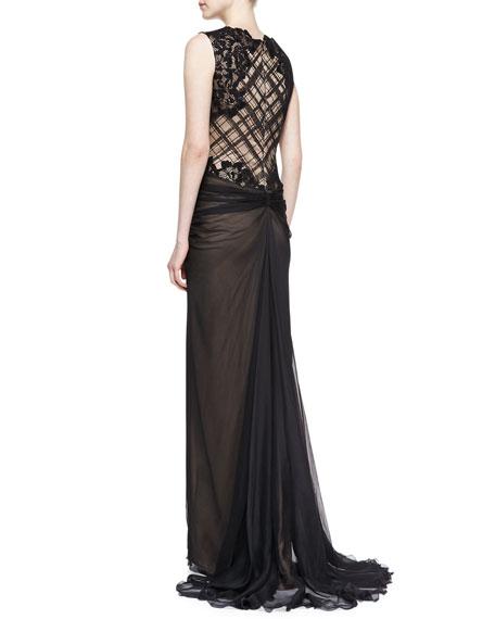 Sleeveless Beaded Bodice Gown, Black/Nude