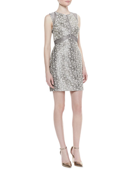 Sleeveless Textured Jacquard Sheath Dress