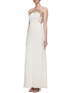 Phoebe Couture Sleeveless Embroidered Bodice Grecian Gown, Cream/Gold