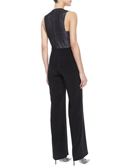 Metallic Combo Wide-Leg Jumpsuit