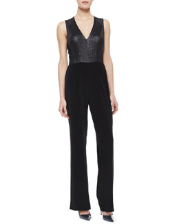 Phoebe by Kay Unger Metallic Combo Wide-Leg Jumpsuit