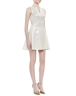 Phoebe Couture Metallic Fit-and-Flare Dress