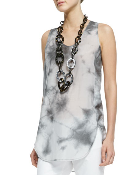 Crystalline Printed Scoop-Neck Tunic