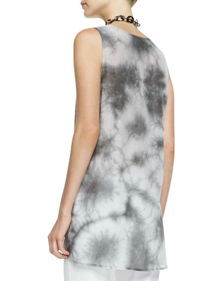 Crystalline Printed Scoop-Neck Tunic, Petite