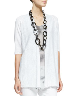 Eileen Fisher Half-Sleeve Open-Front Cardigan, White