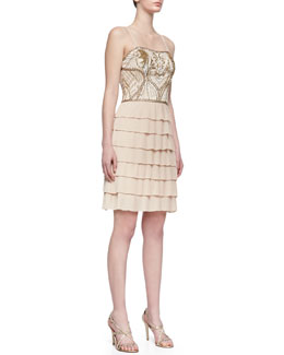 Sue Wong Embroidered Bodice Tiered Ruffle Cocktail Dress, Champagne