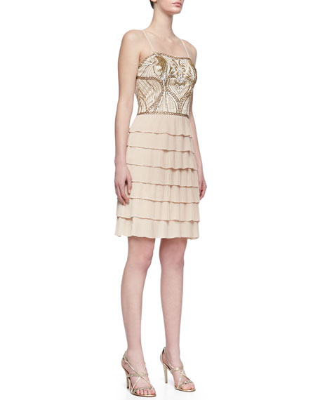 Embroidered Bodice Tiered Ruffle Cocktail Dress, Champagne