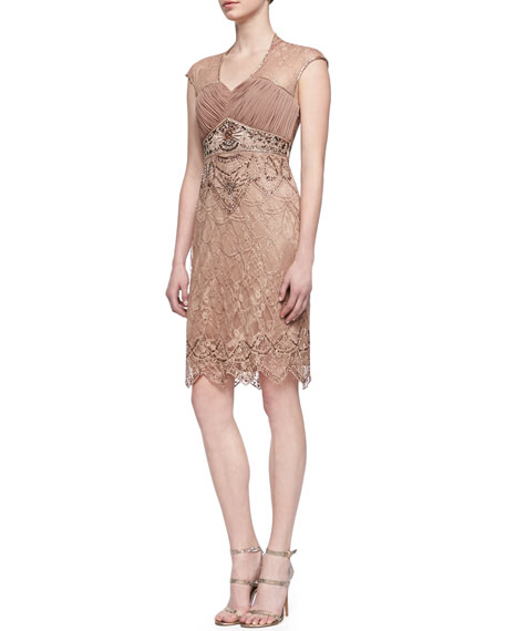 Embroidered & Beaded Cocktail Dress, Sandalwood