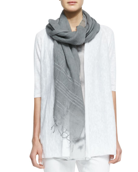 Sequined Striped Linen Scarf