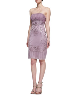 Sue Wong Sequined Strapless Cocktail Dress