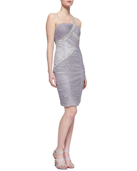 One-Shoulder Ruched and Side Beaded Cocktail Dress, Platinum
