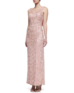 Sue Wong Sleeveless Embroidered & Beaded Gown, Rose
