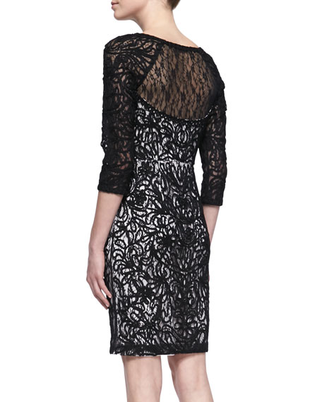 3/4-Sleeve Embroidered Lace Cocktail Dress, Black/White