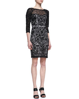 Sue Wong 3/4-Sleeve Embroidered Lace Cocktail Dress, Black/White