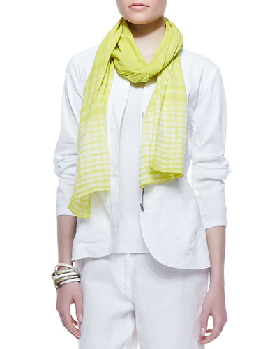Eileen Fisher Shibori Cracked-Cotton Scarf, Deep Citrine
