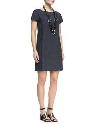 Washable Linen Dress, Denim