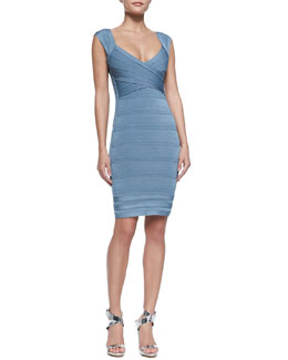 Herve Leger Sarai Scallop-Trim Bandage Dress