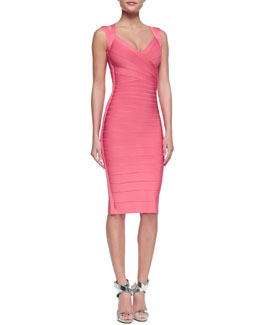 Herve Leger Sarai Sweetheart-Neck Bandage Dress