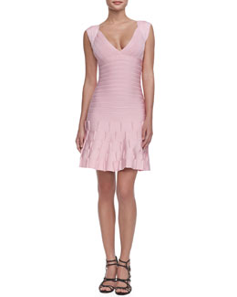 Herve Leger Mirah Puckered-Skirt Bandage Dress