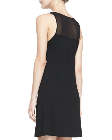 Sleeveless A-Line Combo Dress, Black