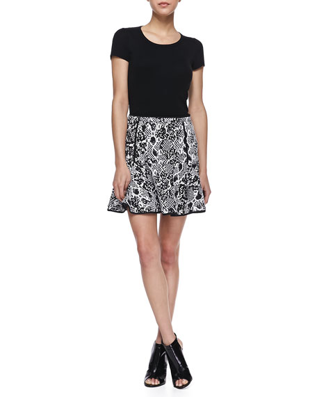 Mixed Print Jacquard Fit-And-Flare Skirt, Black/White