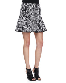Robbi & Nikki Mixed Print Jacquard Fit-And-Flare Skirt, Black/White