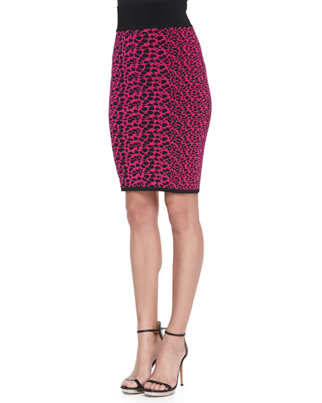 Animal-Print Jacquard Pencil Skirt