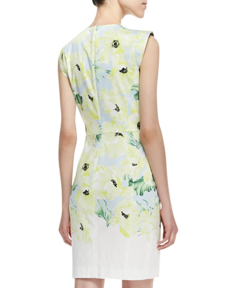 Holiday Poppy Print Sateen Dress, Ice Cooler