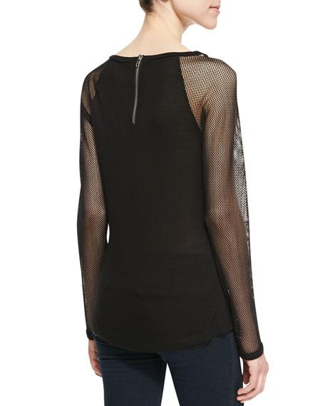 Long-Sleeve Mesh-Contrast Raglan Top, Black