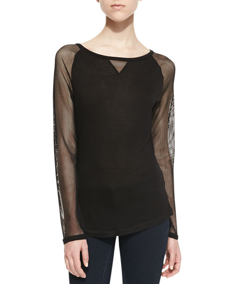 Long-Sleeve Mesh-Contrast Raglan Top, Black