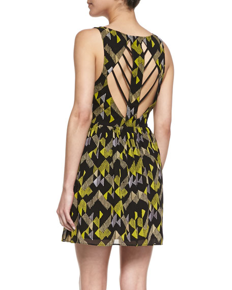 Printed Strappy-Cutout Party Dress
