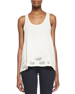 French Connection Sophia Draped Eyelet Tank