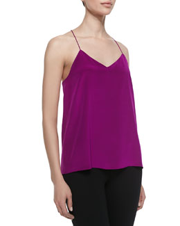 Tibi Heavy Silk V-Neck Silk Cami, Boysenberry