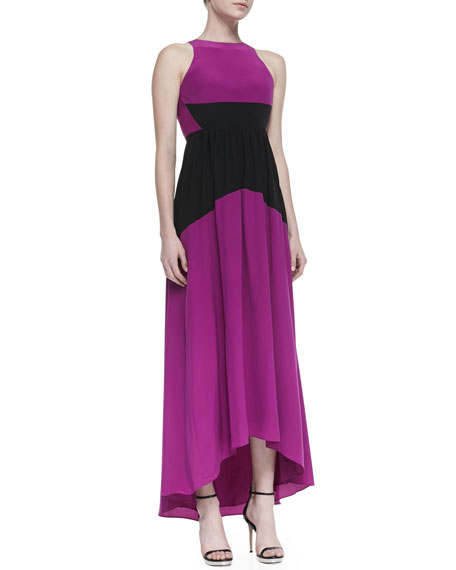 Silk Two-Tone Long High-Low Dress