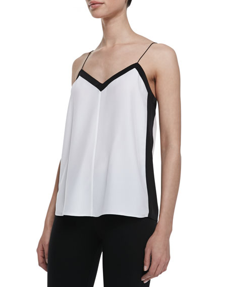 Heavy Silk V-Neck Silk Cami, Ivory/Black
