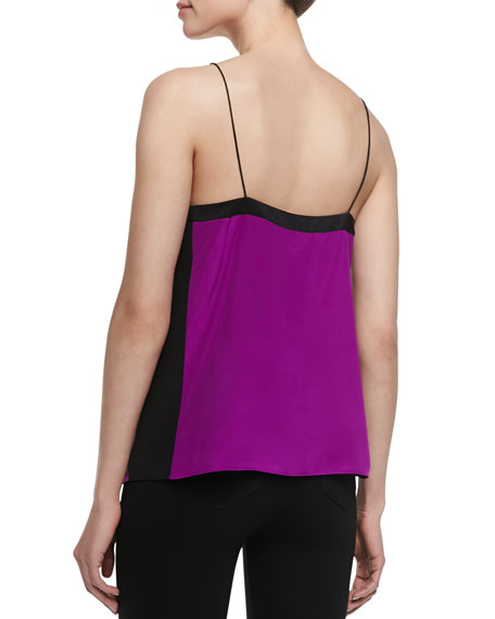 Heavy Silk V-Neck Silk Cami, Boysenberry/Black