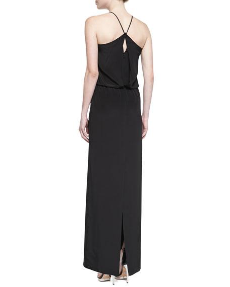 Heavy Silk Long Halter Dress, Black