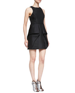 Tibi Simona Sleeveless Origami Dress, Black