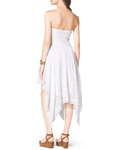 Strapless Asymmetric Eyelet Dress