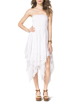 MICHAEL Michael Kors  Strapless Asymmetric Eyelet Dress