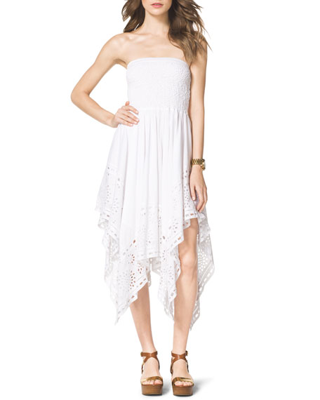 Strapless Asymmetric Eyelet Dress
