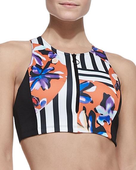 Floral Discs Front-Zip Swim Top