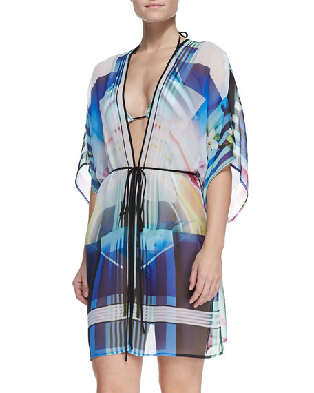 Hollywood Bowl-Print Robe-Style Coverup