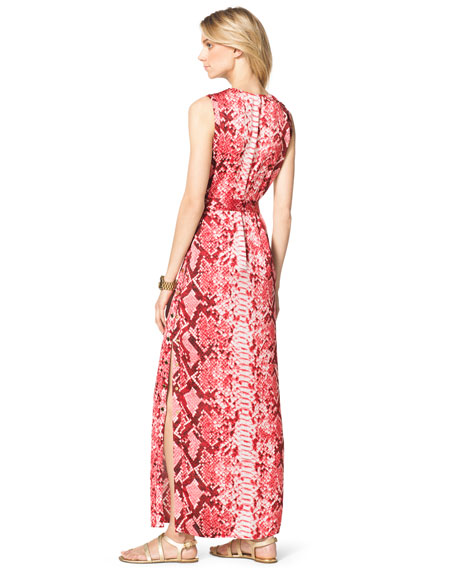 Snake-Print Maxi Dress