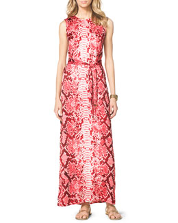 MICHAEL Michael Kors  Snake-Print Maxi Dress