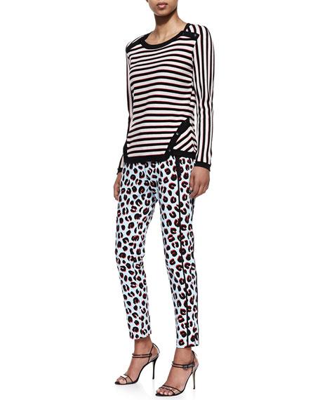 Leopard-Print Skinny-Leg Trousers