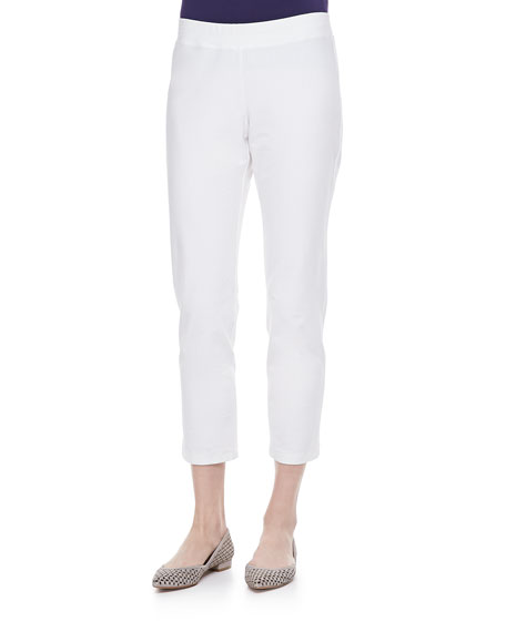 Washable Stretch-Crepe Ankle Pants, White, Women's