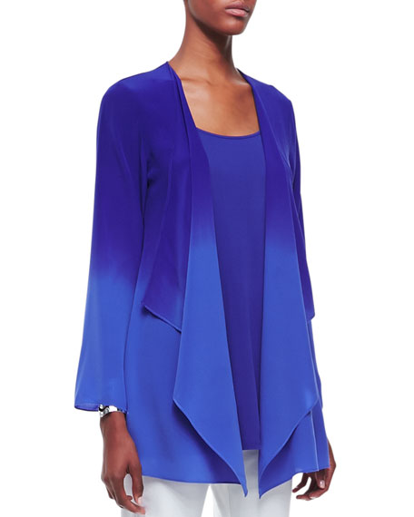 Ombre Silk Long Jacket, Blue Violet, Women's